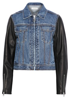 Rag & Bone Woman Nico Leather-paneled Faded Denim Jacket Mid Denim