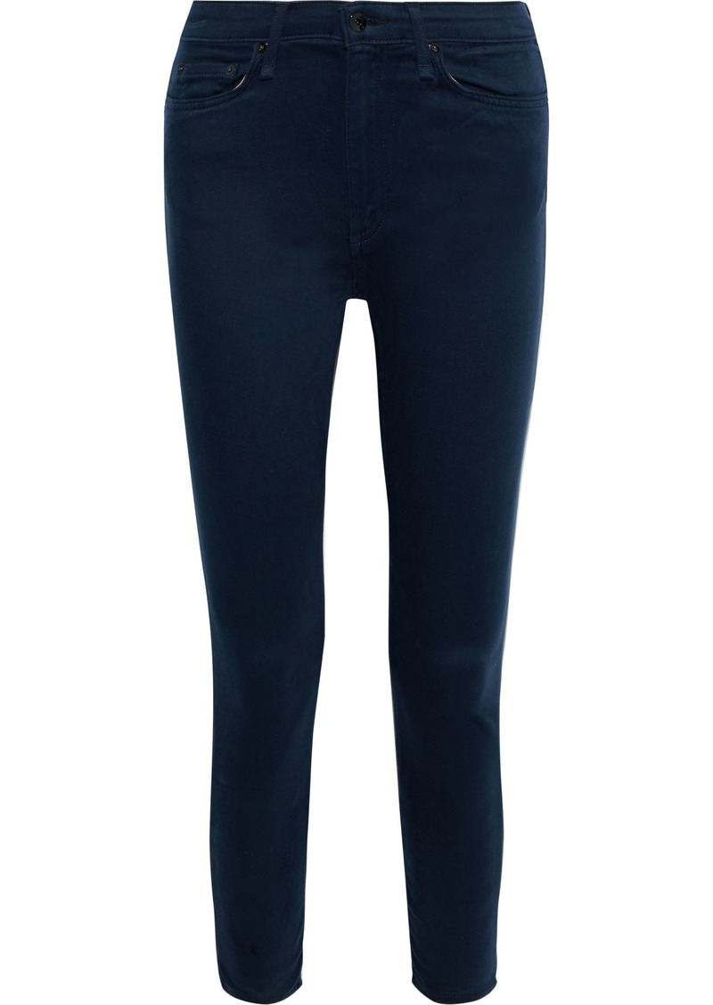 Rag & Bone Woman Nina Cropped Brushed High-rise Skinny Jeans Dark Denim