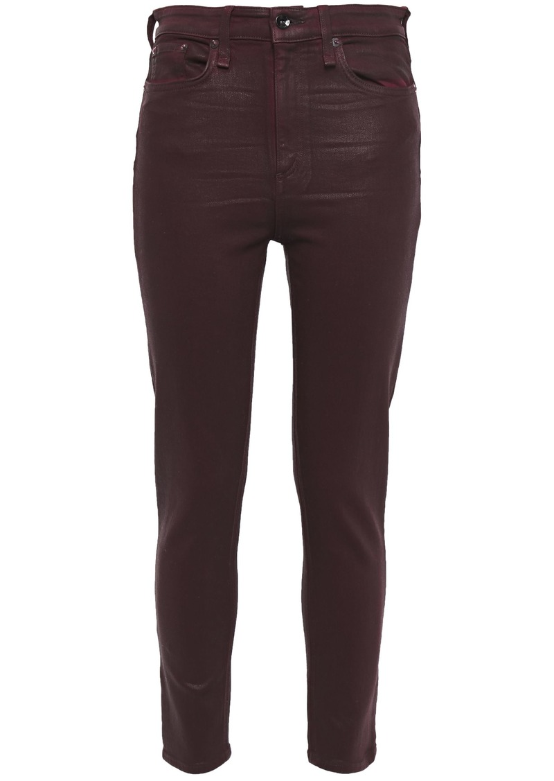 Rag & Bone Woman Nina Cropped Coated High-rise Skinny Jeans Merlot