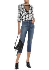 Rag & Bone Woman Nina Cropped Distressed High-rise Skinny Jeans Mid Denim
