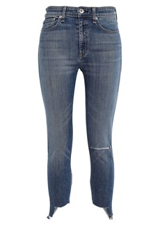 Rag & Bone Woman Nina Cropped Distressed High-rise Skinny Jeans Mid Denim