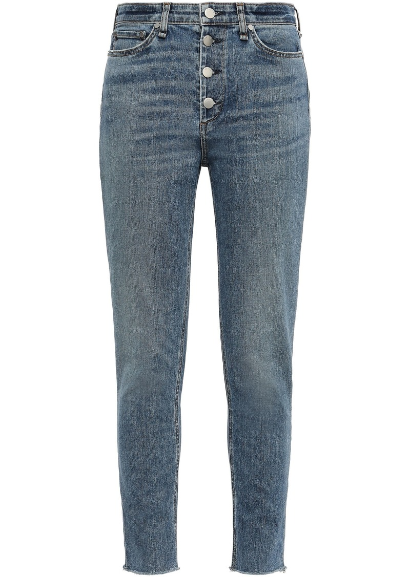 Rag & Bone Woman Nina Cropped Frayed High-rise Skinny Jeans Mid Denim