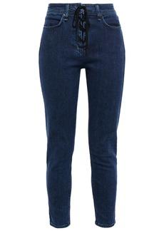 Rag & Bone Woman Nina Cropped Lace-up High-rise Skinny Jeans Dark Denim