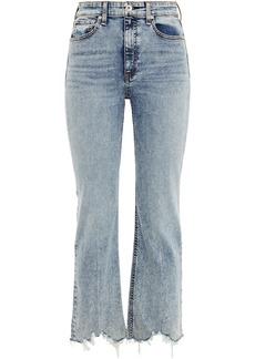 Rag & Bone Woman Nina Distressed Acid-wash High-rise Kick-flare Jeans Mid Denim