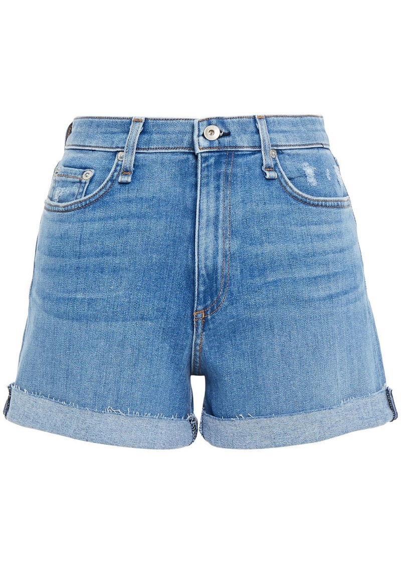 Rag & Bone Woman Nina Distressed Denim Shorts Light Denim