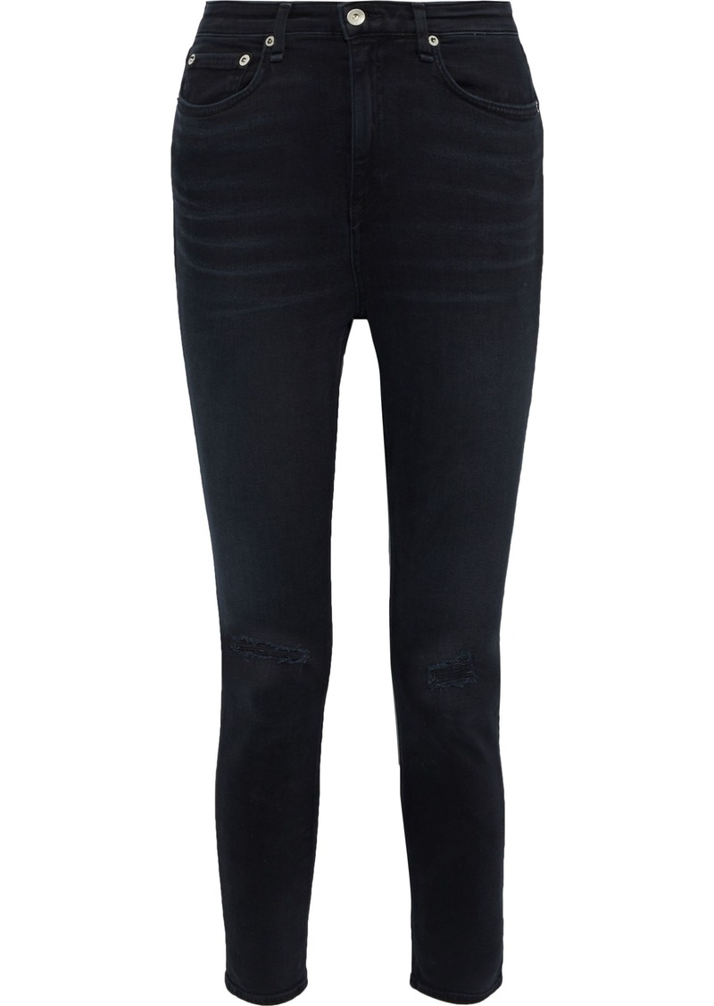 Rag & Bone Woman Nina Distressed High-rise Skinny Jeans Black