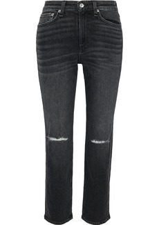 Rag & Bone Woman Nina Distressed High-rise Straight-leg Jeans Charcoal