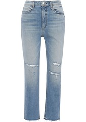 Rag & Bone Woman Nina Distressed High-rise Straight-leg  Jeans Light Denim