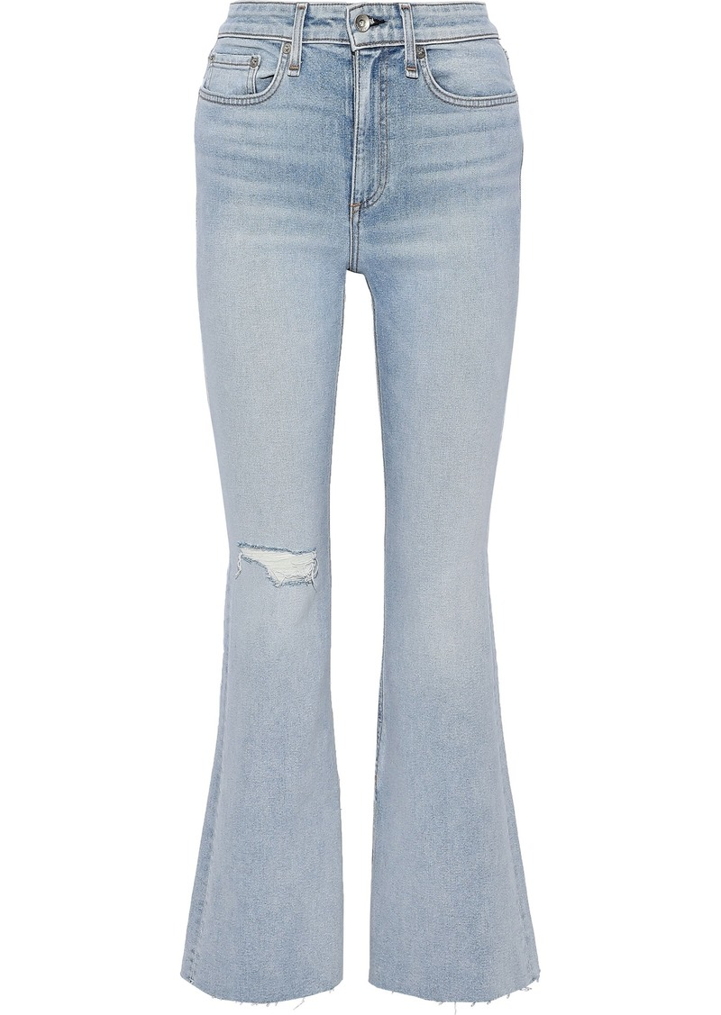 Rag & Bone Woman Nina Distressed High-rise Flared Jeans Light Denim