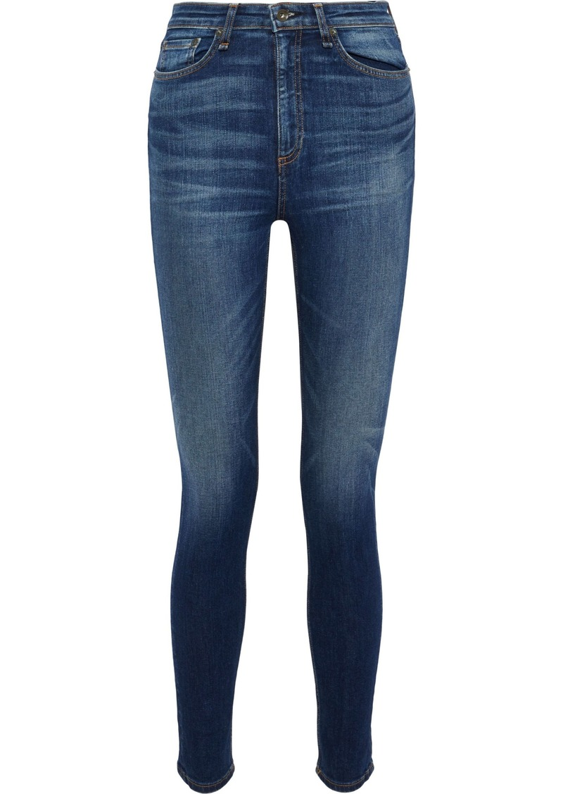 Rag & Bone Woman Nina Faded High-rise Skinny Jeans Mid Denim