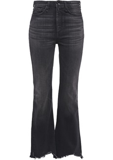 Rag & Bone Woman Nina Frayed High-rise Flared Jeans Black