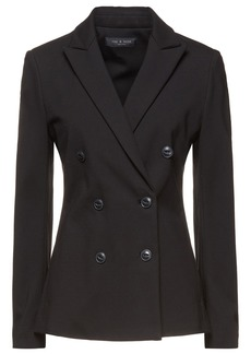 Rag & Bone Woman Nyx Double-breasted Stretch-ponte Blazer Black