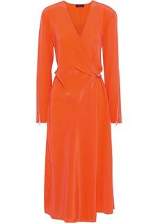 Rag & Bone Woman Odette Wrap-effect Silk Crepe De Chine Midi Dress Bright Orange
