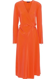 Rag & Bone Woman Odette Wrap-effect Silk Crepe De Chine Midi Dress Bright Orange