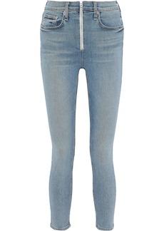 Rag & Bone Woman Onslow Cropped Zip-detailed High-rise Skinny Jeans Light Denim