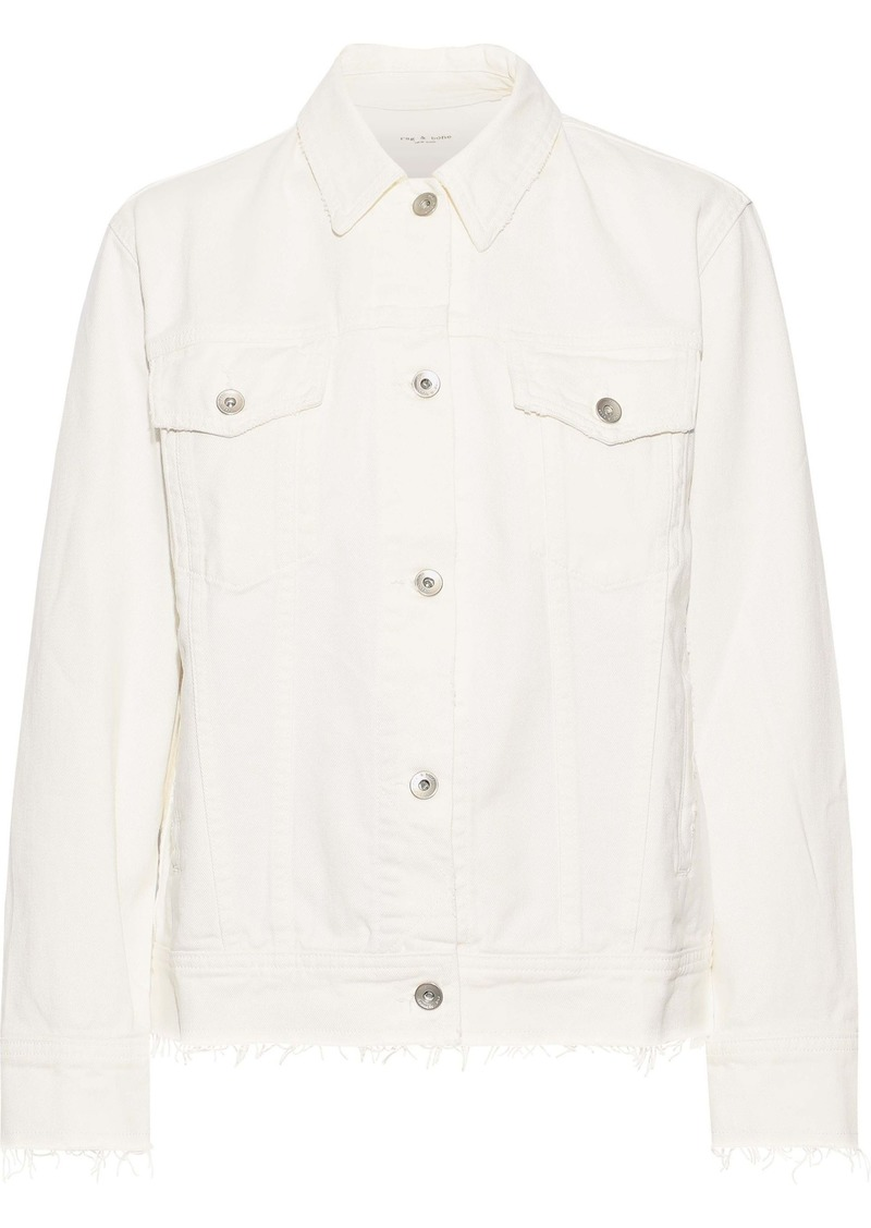 Rag & Bone Woman Oversized Distressed Denim Jacket White
