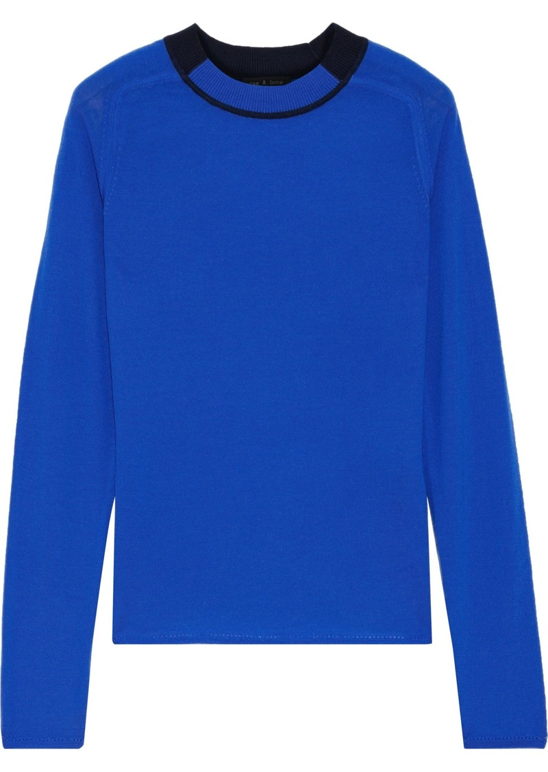 Rag & Bone Woman Pamela Pointelle-trimmed Merino Wool Sweater Bright Blue