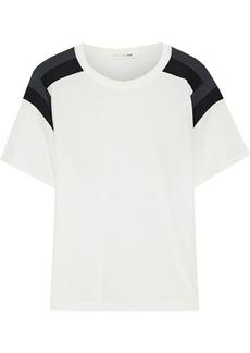 Rag & Bone Woman Paneled Pima Cotton-jersey T-shirt Ivory