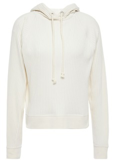 Rag & Bone Woman Paneled Ribbed Cotton-jersey Hoodie Off-white