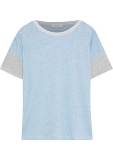 Rag & Bone Woman Payton Color-block Slub Linen T-shirt Light Blue
