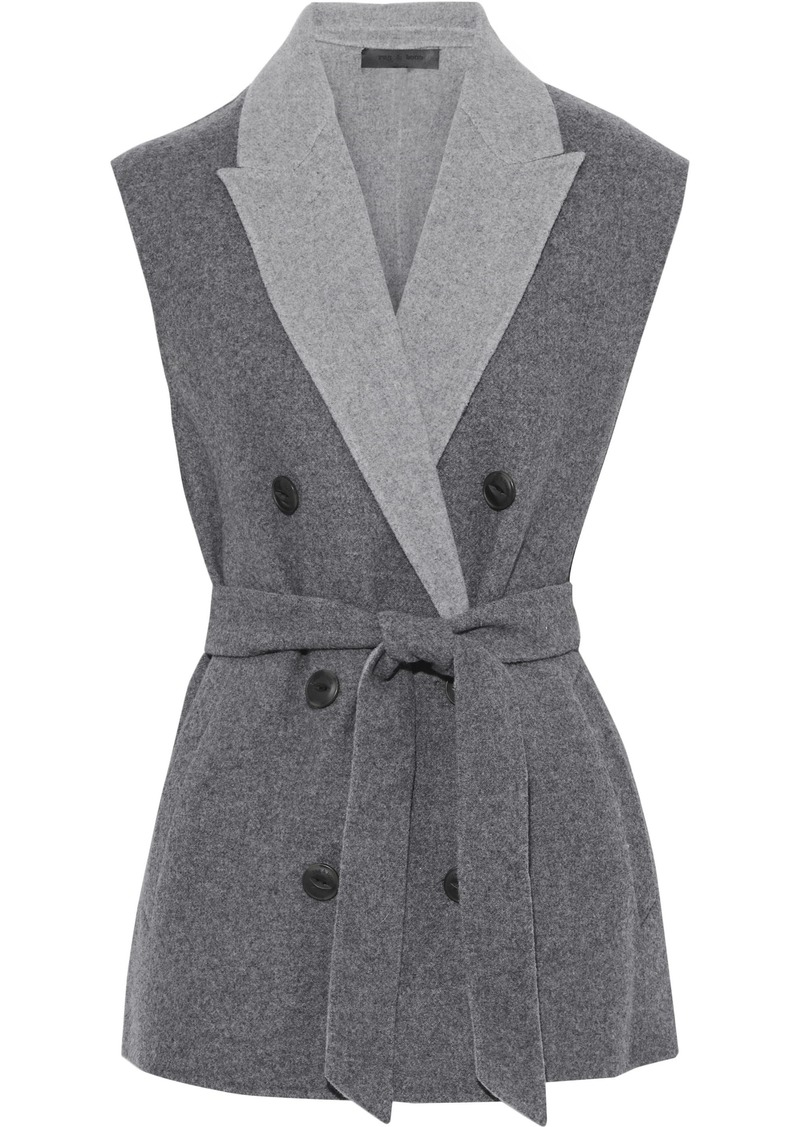 Rag & Bone Woman Pearson Double-breasted Wool-blend Felt Vest Gray