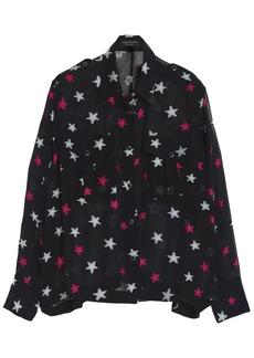 Rag & Bone Woman Pearson Fil Coupé Silk-blend Chiffon Blouse Black