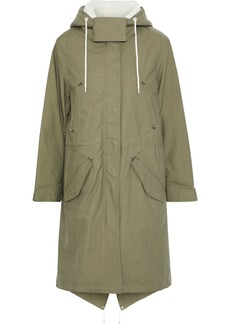 Rag & Bone Woman Penelope Faux Shearling-trimmed Cotton-canvas Hooded Parka Leaf Green