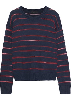 Rag & Bone Woman Penn Open Knit-trimmed Ribbed-knit Sweater Navy