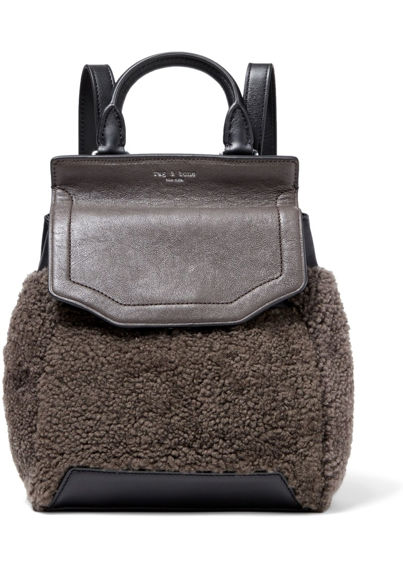 Rag & Bone Woman Pilot Ii Small Leather And Shearling Backpack Chocolate