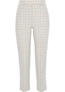 Rag & Bone Woman Poppy Cropped Checked Wool-blend Twill Straight-leg Pants Ivory