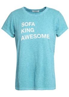 Rag & Bone Woman Printed Slub Pima Cotton-jersey T-shirt Turquoise