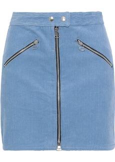 Rag & Bone Woman Racer Zip-detailed Cotton-corduroy Mini Skirt Azure