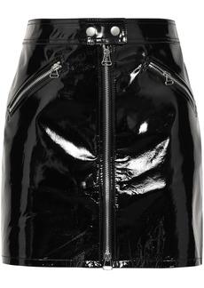 Rag & Bone Woman Racer Zip-detailed Patent-leather Mini Skirt Black