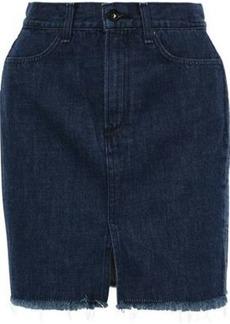 Rag & Bone Woman Rata Frayed Denim Mini Skirt Dark Denim