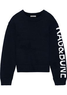 Rag & Bone Woman Rayland Intarsia Cotton Sweater Navy