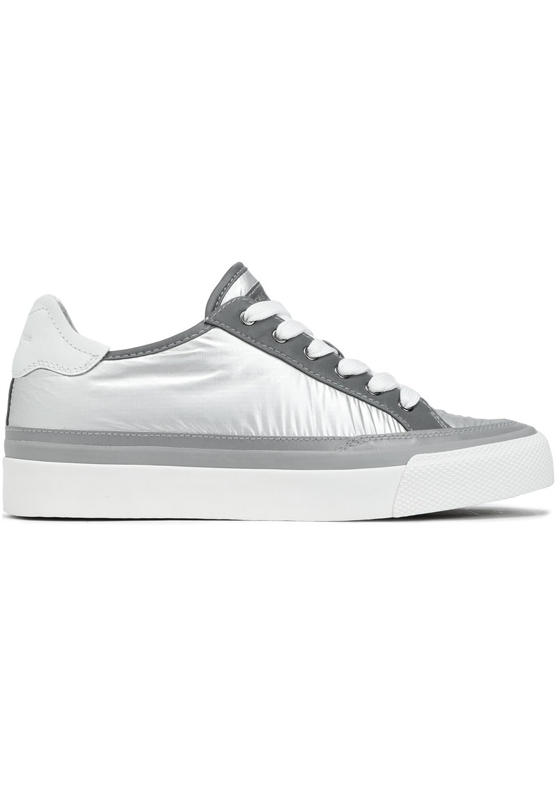 Rag & Bone Woman Rb Army Low Leather-trimmed Coated-shell Sneakers Silver