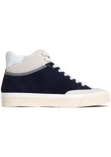 Rag & Bone Woman Rb Army Suede Leather And Coated-shell High-top Sneakers Midnight Blue