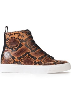 Rag & Bone Woman Rb Suede-trimmed Snake-effect Leather High-top Sneakers Animal Print