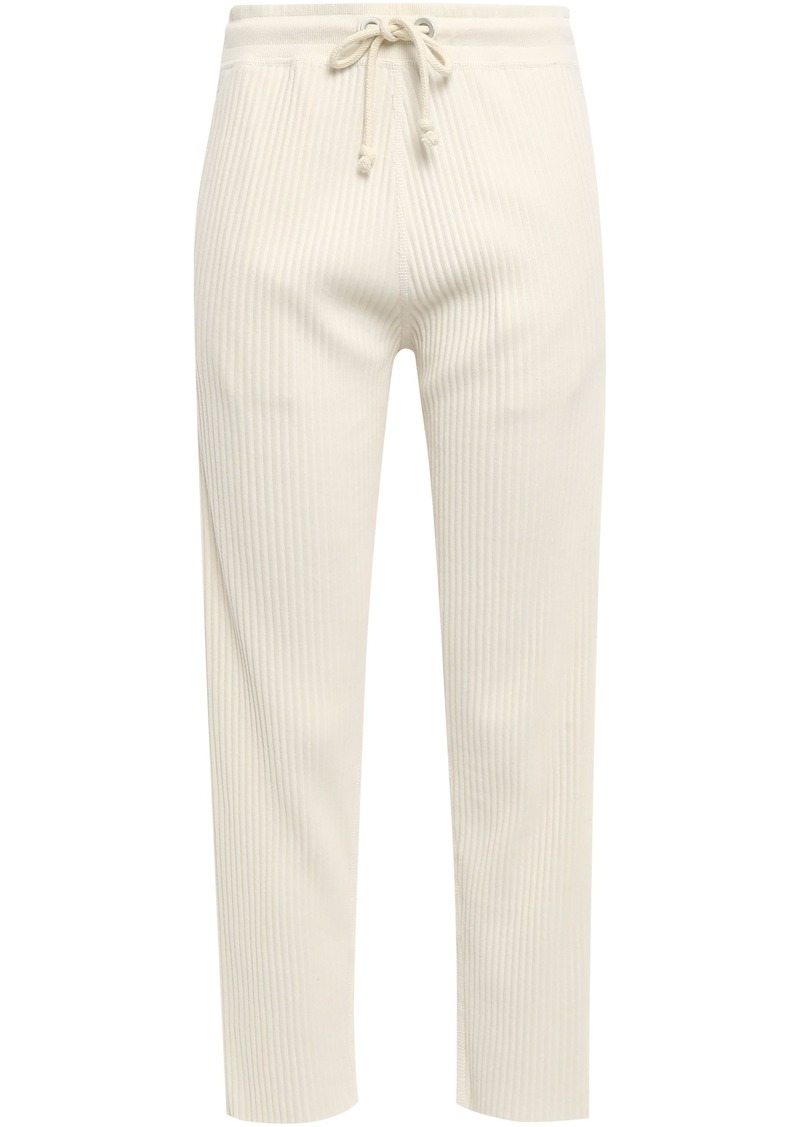 Rag & Bone Woman 3d Ribbed Cotton Track Pants Cream