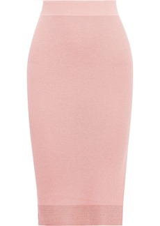 Rag & Bone Woman Rower Metallic Ribbed-knit Skirt Baby Pink