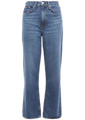 Rag & Bone Woman Ruth Faded High-rise Straight-leg Jeans Mid Denim