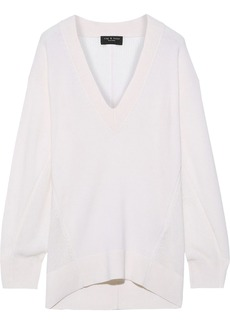 Rag & Bone Woman Sabreena Open Knit-paneled Cashmere Sweater Ecru