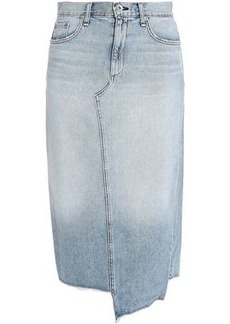 Rag & Bone Woman Sakato Asymmetric Frayed Denim Skirt Light Denim