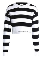 Rag & Bone Woman Sharon Cropped Striped Cotton-blend Sweater White
