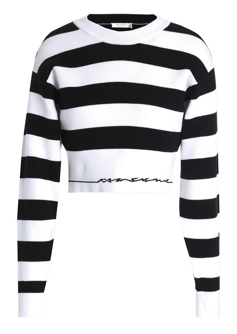 Rag & Bone Woman Sharon Cropped Striped Cotton-blend Sweater White