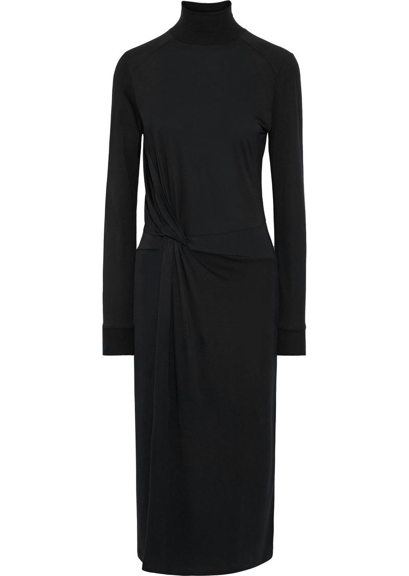 Rag & Bone Woman Shaw Knotted Jersey Turtleneck Midi Dress Black