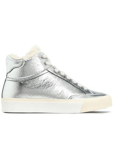 Rag & Bone Woman Shearling-trimmed Crinkled Metallic Leather Sneakers Silver