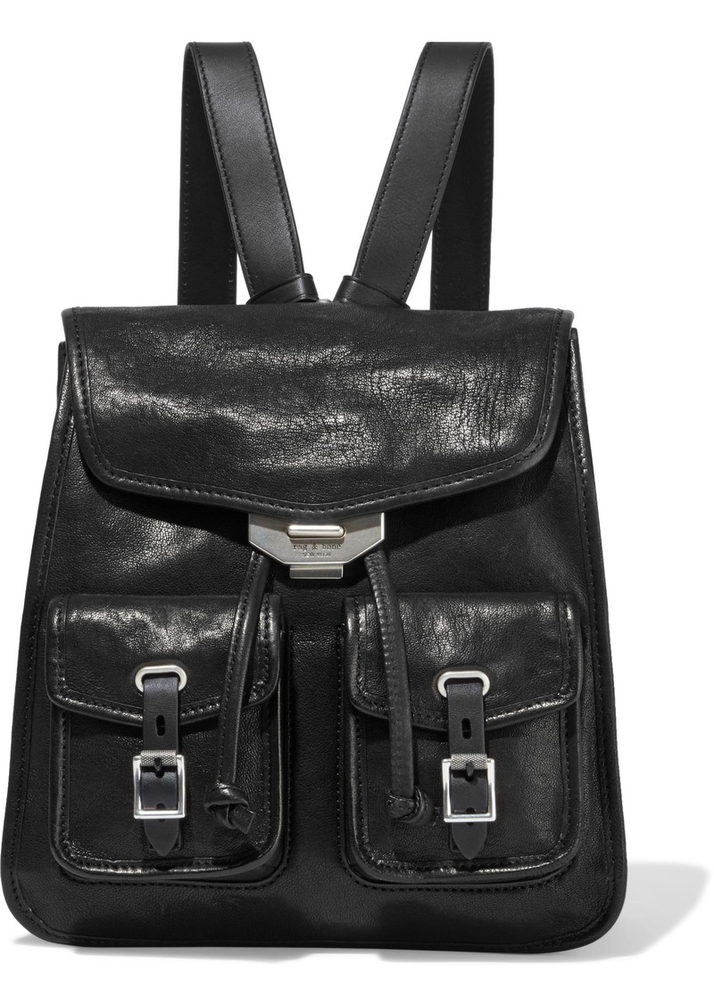 Rag & Bone Woman Small Field Textured-leather Backpack Black