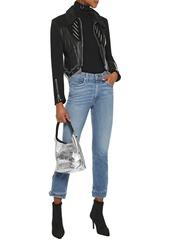 Rag & Bone Woman Snap-detailed Faded High-rise Slim-leg Jeans Mid Denim