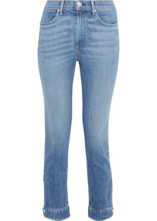 Rag & Bone Woman Snap-detailed Faded High-rise Slim-leg Jeans Mid Denim